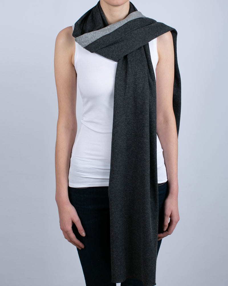 Double Faced Scarf | Anthracite & Gris Chine