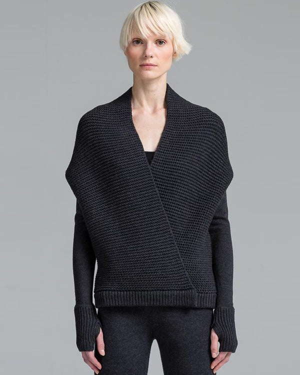 Wrapping Stitch Cocoon Cardigan | Asphalt
