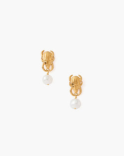 Beetle Earring With Pearl Accent | Gold