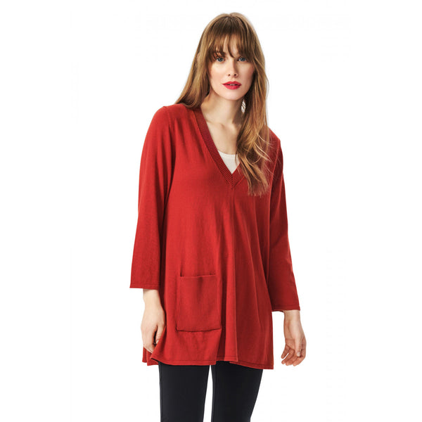 Cotton V-Neck Tunic with Pocket | Sunset Red