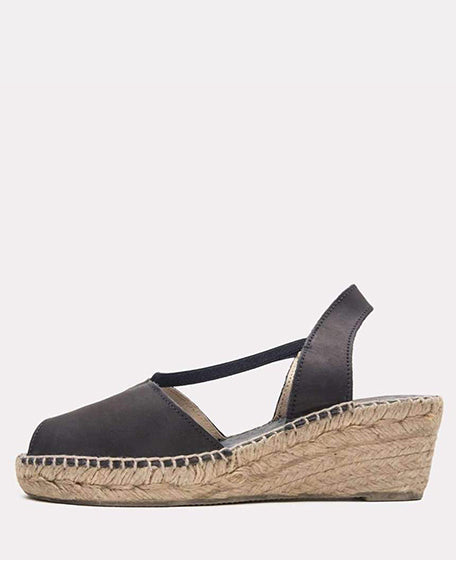 Dainty Leather Espadrille | Black