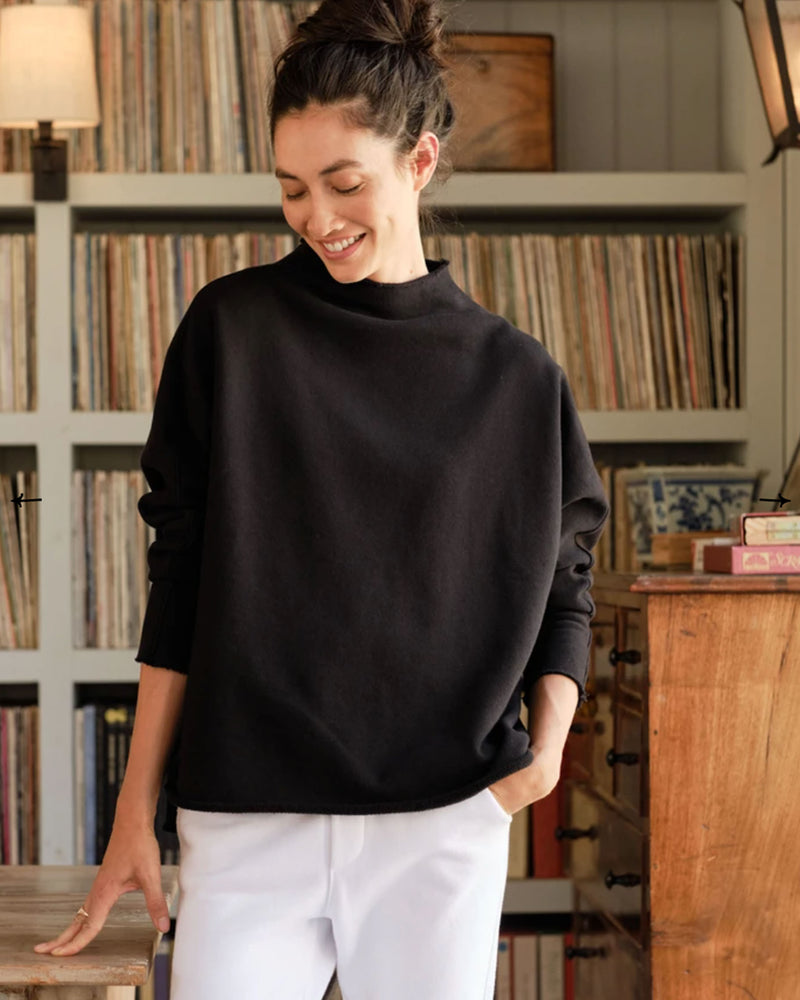 Long Sleeve Funnel Neck Capelet | Black
