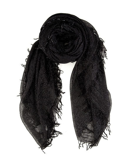 Metallic Cashmere & Silk Scarf | Black
