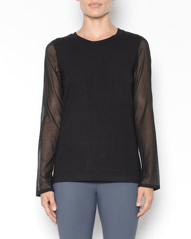 Neysha Jersey Tee With Chiffon Sleeves | Black