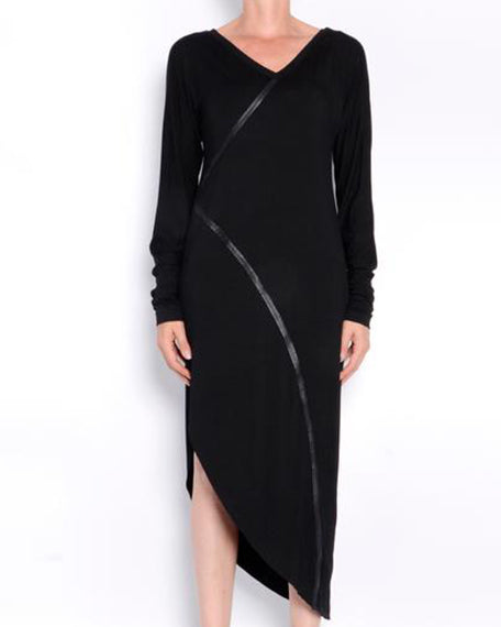 Ronelle Rayon Jersey Asymmetric Dress | Black