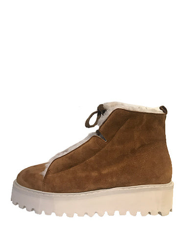 Shearling Lace Up With Zipper | Two Toned Suede