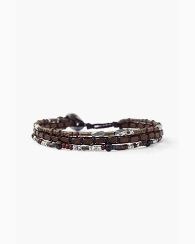 Sterling Silver 6' Layered Bracelet | Brown Mix