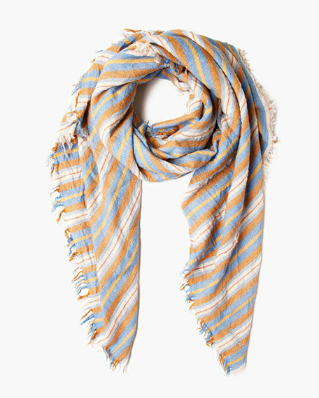 Stripe Print Wool Scarf | Palace Blue