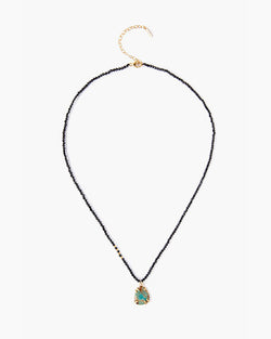 Stone Drop Beaded Necklace | Black Spinel