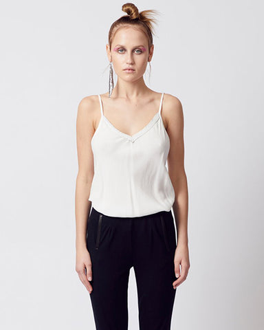 Pirouette Perforated Leather Cami | White