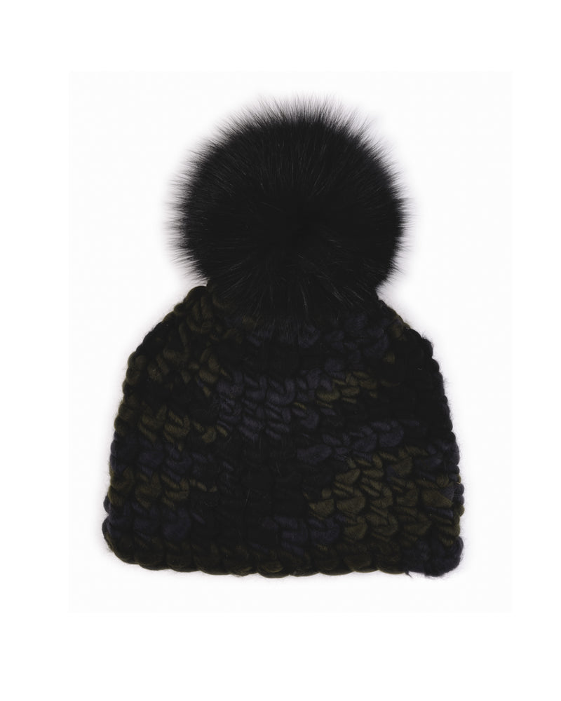 Deep Beanie Dark Camo | Black Pom