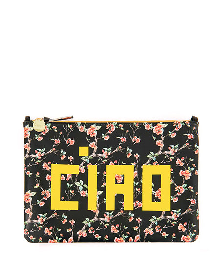 Flat Clutch with Ciao & Cherry Blossoms