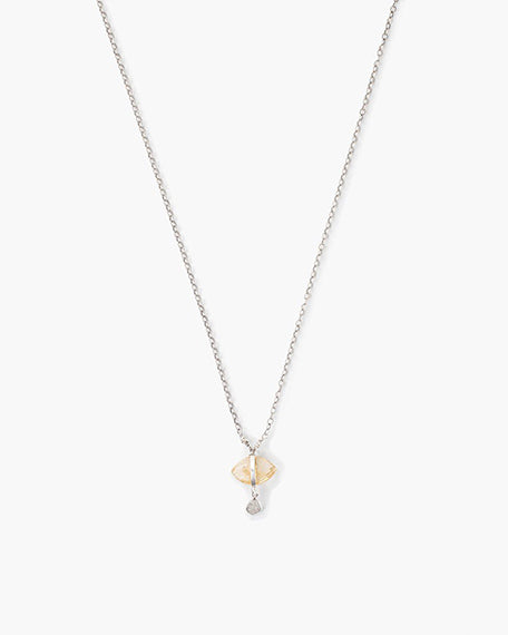 Evil Eye Sliced Diamond Necklace | Citrine