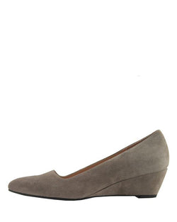 Clap Pointed Toe Wedge | Ash Grey Suede