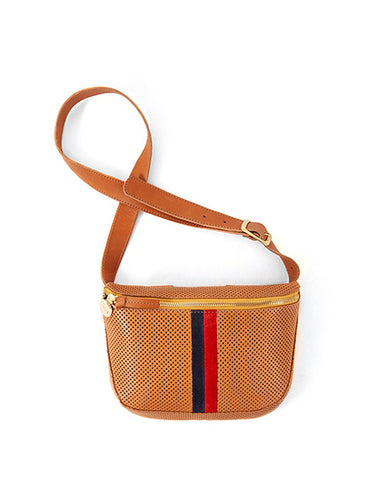 Perforated Fannypack | Cuoio Red & Navy Stripe