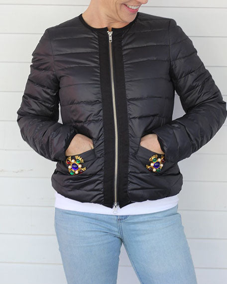 Down Jacket with Medallion | Black