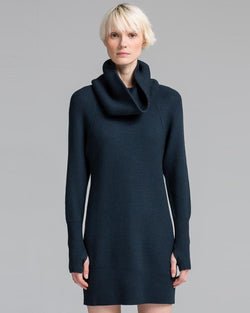 Turtleneck Popcorn Stitch Tunic Dress | Slate