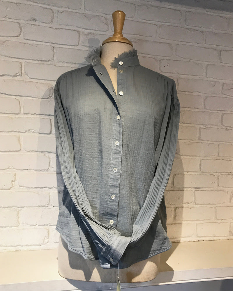 Shirred Blouse | Dusty Blue