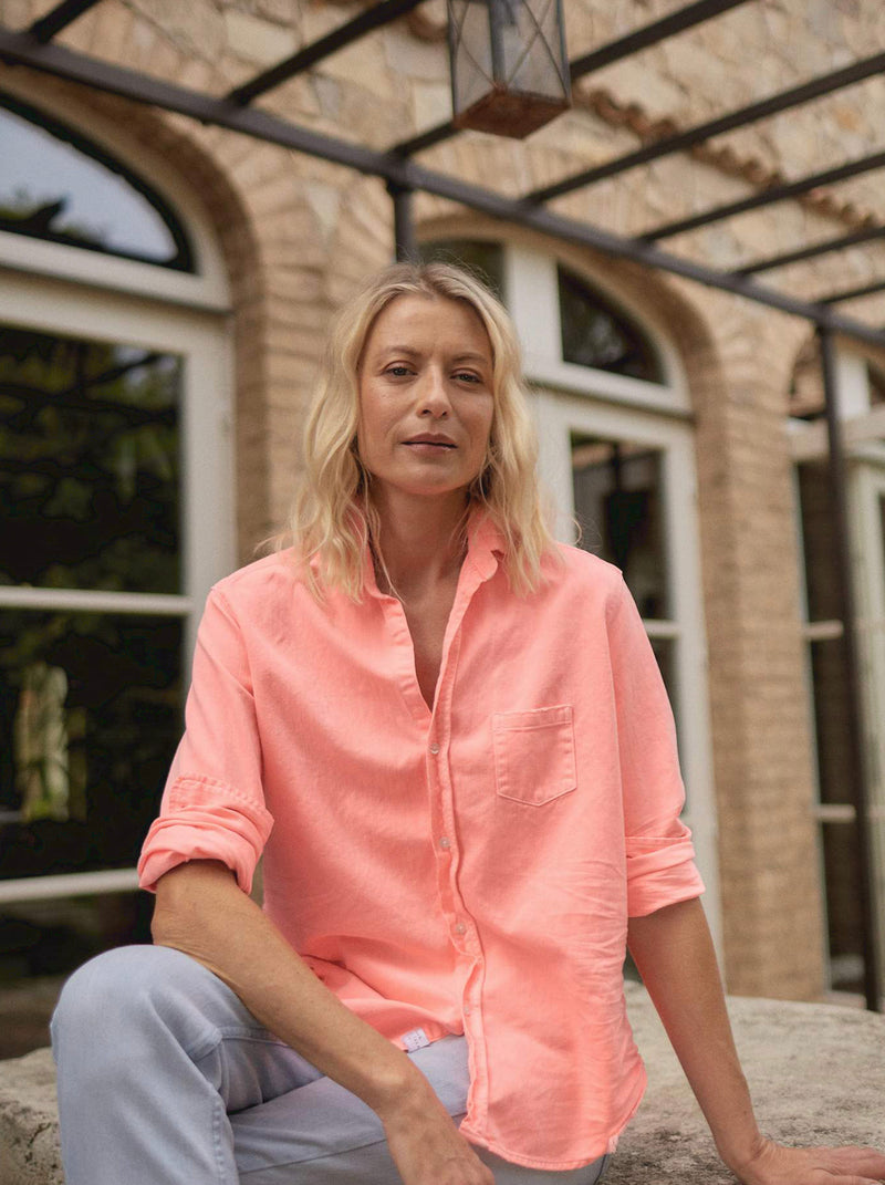 Eileen Famous Denim Button Down | Neon Pink