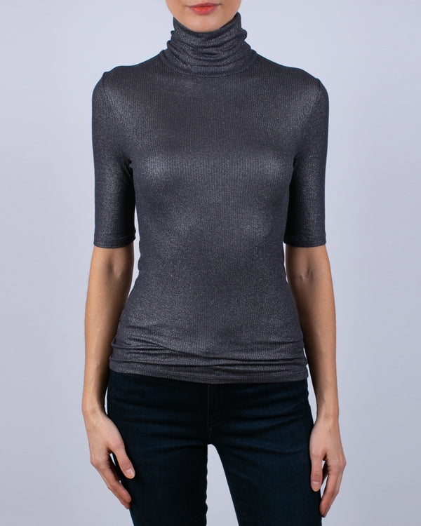 Elbow Sleeve Metallic Turtleneck