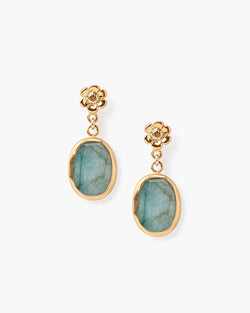 Simple Stone Drop Earring | Emerald