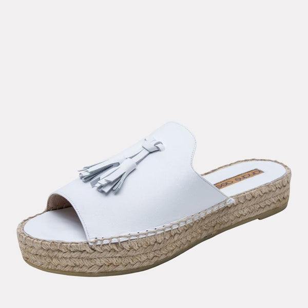 Cameron Leather Espadrille | White