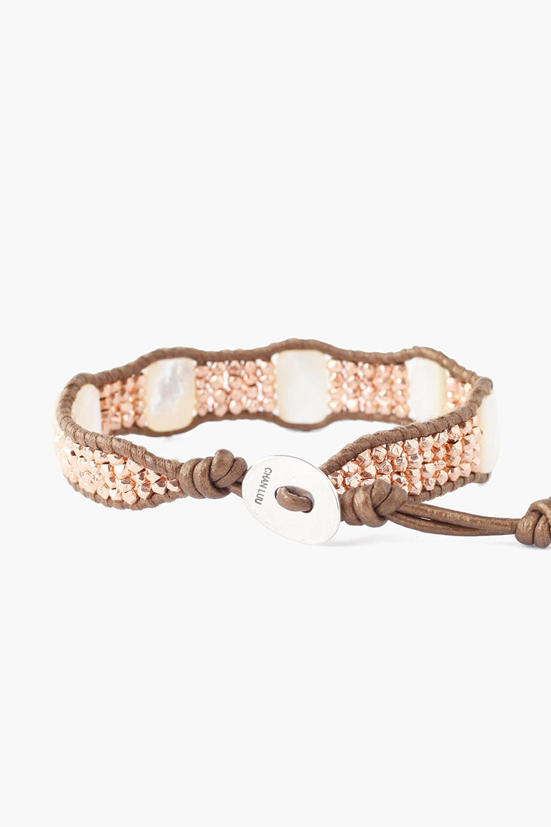 Single Wrap Bracelet With Stones | Rose Gold Mix
