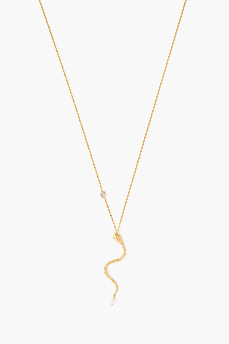 Fine Gold Chain Necklace With Snake, Pearl & Diamond Accent