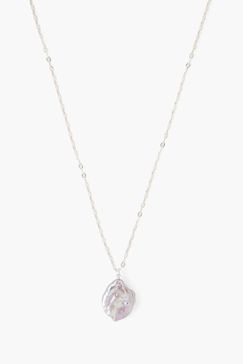 Silver Long Chain Pearl Necklace