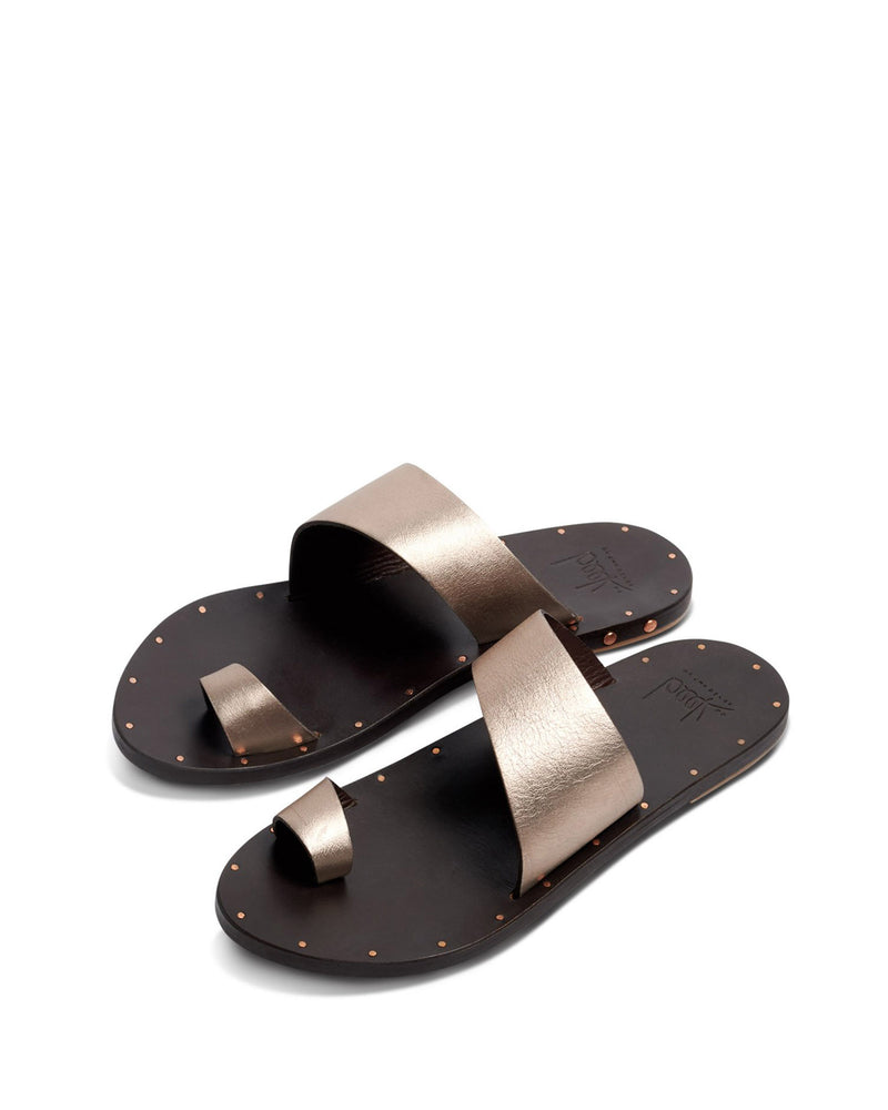 Finch Leather Slide Sandal | Bronze & Black