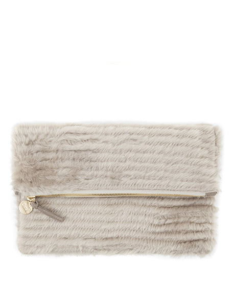 Shearling Fold Clutch | Taupe