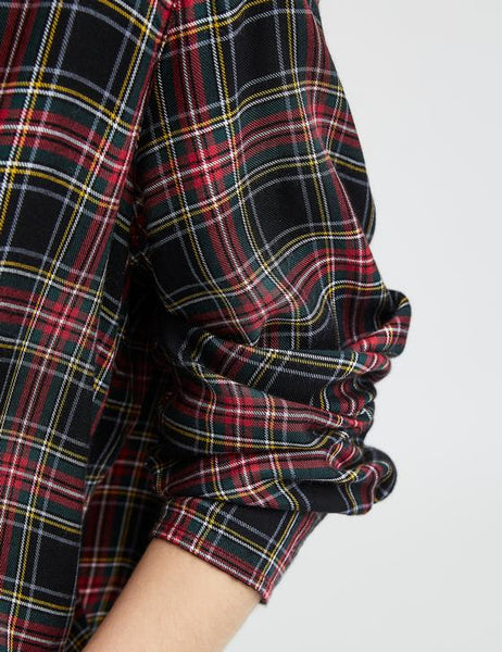 Eileen Modal Top | Black, Yellow & Red Plaid