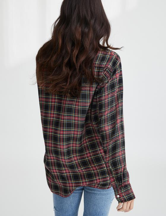 Eileen Modal Button Down | Black, Yellow & Red Plaid