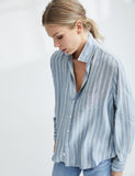 Eileen in Modal | Gray, Blue & White Multi-Stripe