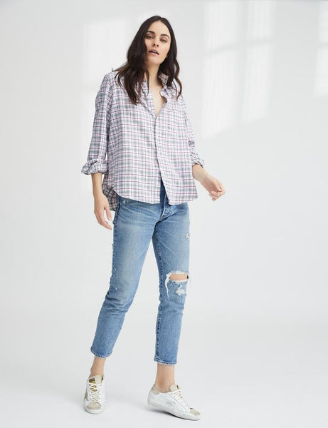 Eileen Flannel | Gray, White and Pink Plaid