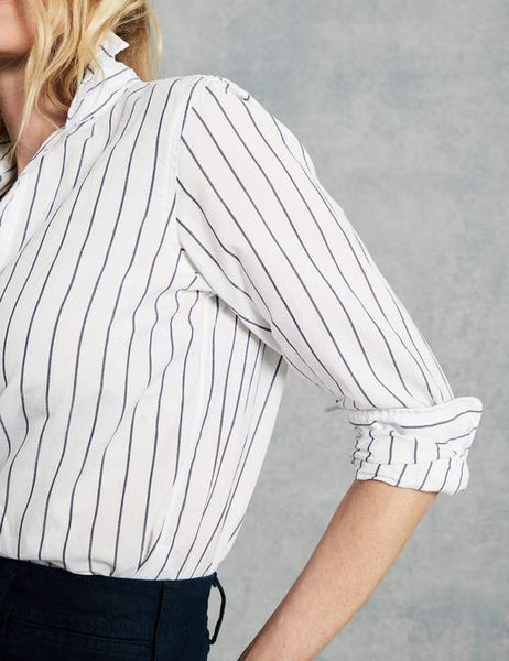 Frank Relaxed Button Down | Wide Navy Stripe