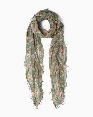 Cashmere & Silk Paisley Scarf | Green Bay