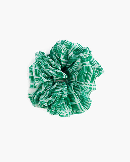 Verdant Green Plaid Scrunchy