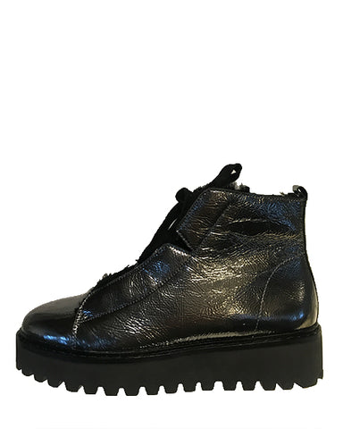 Shearling Lined Metallic Patent Bootie