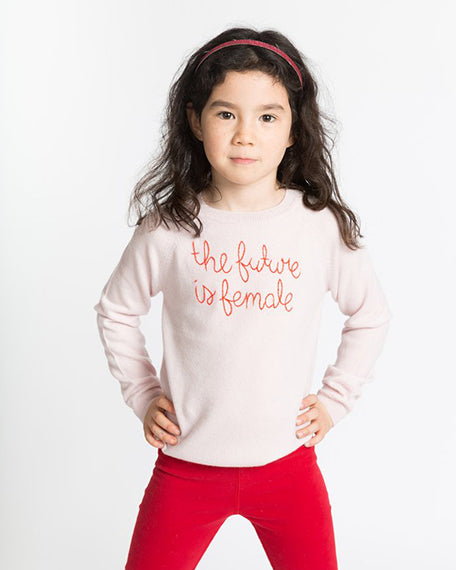 'The Future Is Female' Kids Sweater | Blush Pink