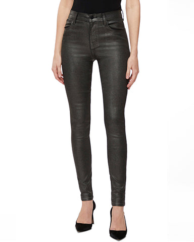 Maria High-Rise Waxed Skinny Jean | Silver Lament