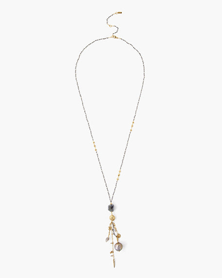 Long Delicate Necklace | Dark Champagne Mix