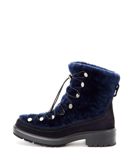 Lorena Shearling Hiker | Navy & Black