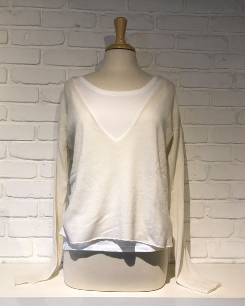 Double Layer V Neck Sweater | Milk