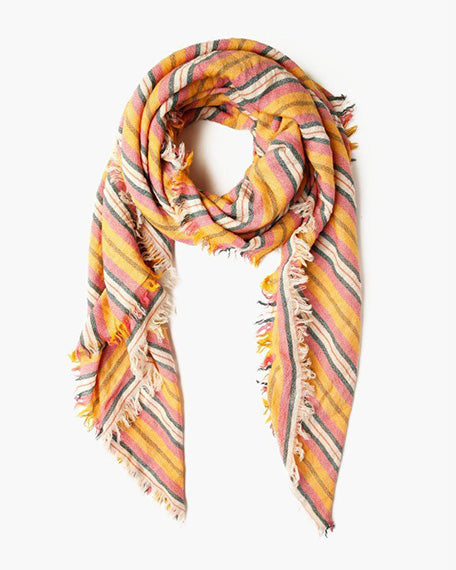 Stripe Print Wool Scarf | Meadow Mauve