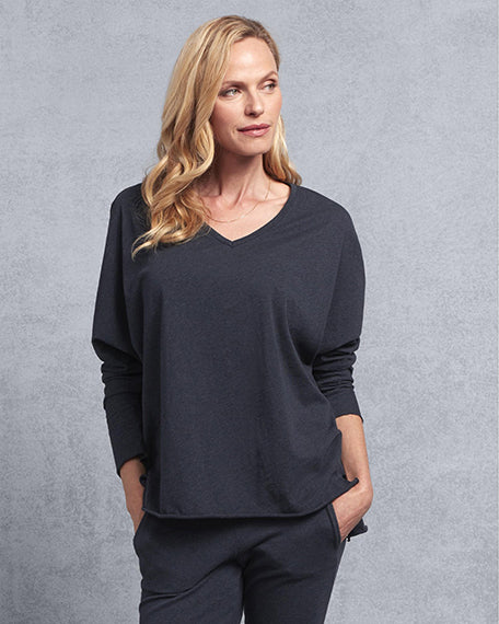 Deep V Neck Tee | Navy Melange