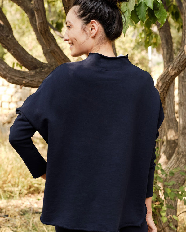 Long Sleeve Funnel Neck Capelet | Navy