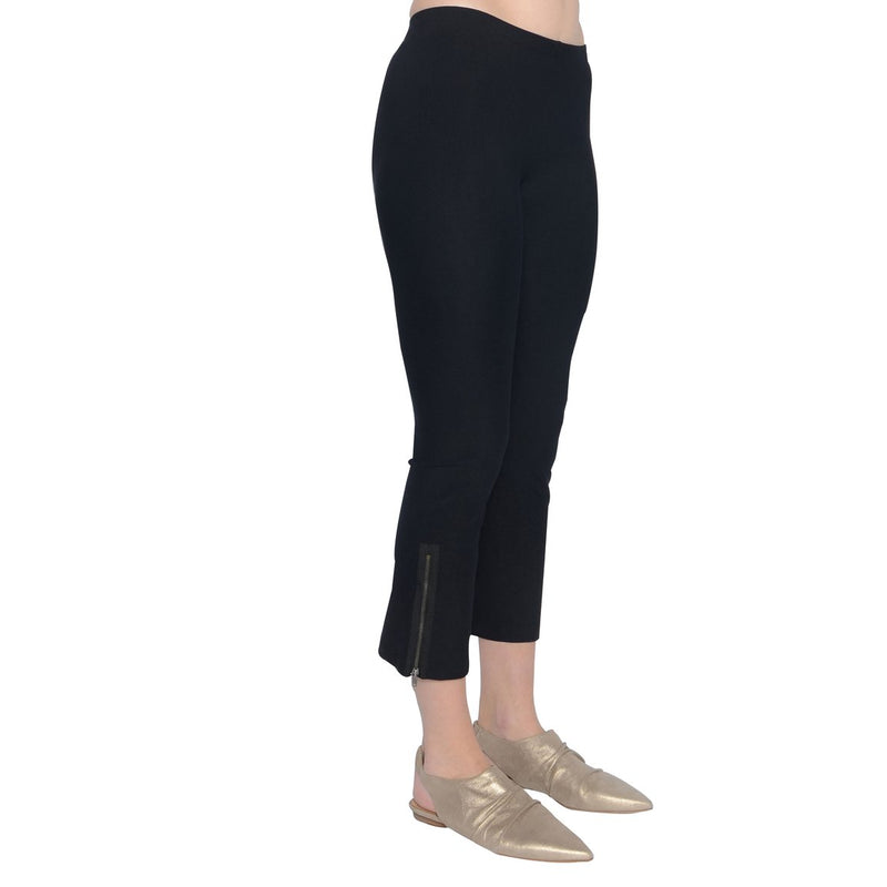 Mitra Cropped Side Zip Legging | Black