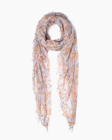 Cashmere & Silk Paisley Scarf | Pearl Blue