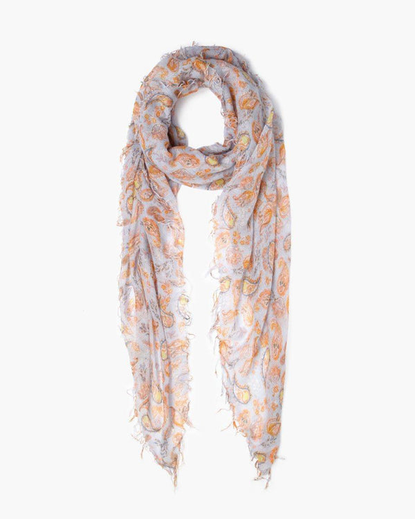 Silk & Cashmere Paisley Scarf | Pearl Blue